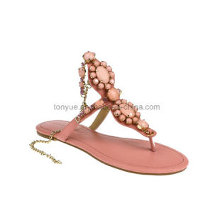 Lady Leather Shoe Flip Flops with Crystal Women Sandals pictures & photos