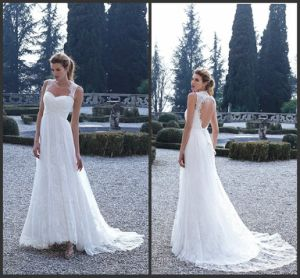 Lace Bridal Formal Gown Hollow Back Sleeves Maternity Wedding Dress H5215 pictures & photos