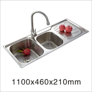 Stainless Steel One Stretched Kitchen Sink (11046-2) pictures & photos