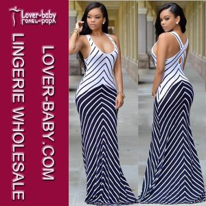 Stripes Maxi Dress Casual Fashion Wear for Lady (L51275) pictures & photos