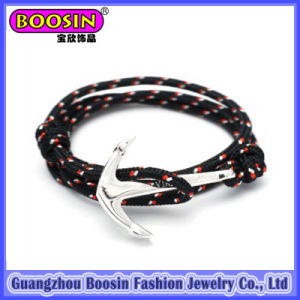 Custom Leather Alloy Anchor Bracelet for Men #578 pictures & photos