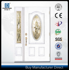 Hand Craftsmanship Real Wood Look Luxury Main House Front Fiberglass Door 2 Sidelites Brass Caming pictures & photos