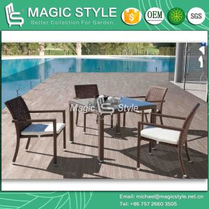 Patio Dining Set with Special Weaving Rattan Square Table Wicker Chair (Magic Style) pictures & photos