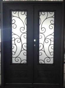 Sandblast Glass Wrought Iron Square Top Entry Door pictures & photos