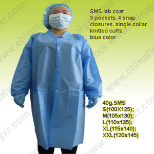 Ly Disposable SMS Lab Coat with Knitted Cuff pictures & photos