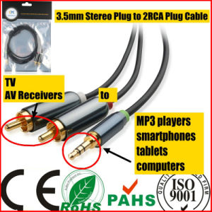 3.5mm Stereo Plug to 2RCA Plug Cable for Sound (HL-127) pictures & photos