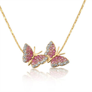 Girls Butterfly Pendant Imitation Jewelry Women Crystal Necklace pictures & photos
