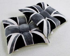 English Flag Gray Flannel Fleece Printed Seat Cushion