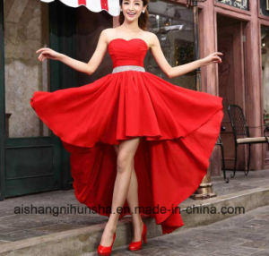Crystal Sashes Sleeveless Pleat Chiffon Short Evening Dresses pictures & photos