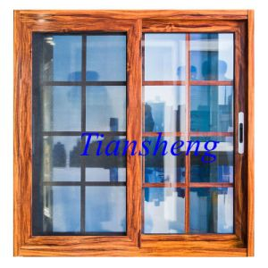 Powder Coated Wooden Color Aluminum Windows and Doors with Stainless Steel Mosquito Net pictures & photos