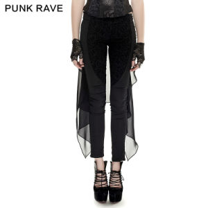 K-247 2016 Hot Sale Punk Black Skinny Harem Pants Plain Dyed Cotton Pants Chiffon Forktail Women Pants pictures & photos
