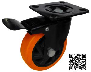 4 Inch PU Brake Castor Wheel for Hand Trolley pictures & photos