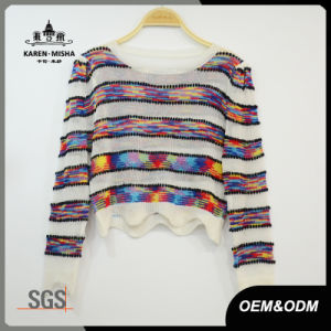 Women Boho Wave Fashion Crop Striped Colored T-Shirt pictures & photos