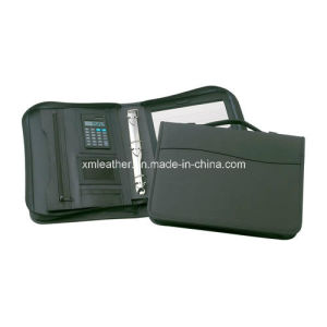 Breifcase Handle Leather Portfolio Binder with Calculator pictures & photos