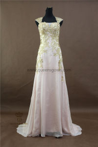 Wholesale Top Quality Crystal Beaded Cap Sleeves Evening Dress