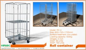 Warehouse Foldable Metal Roll Container Wire Cages pictures & photos