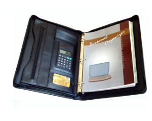Office Supply Zip A4 PU Leather Compendium Folder with Calculator pictures & photos