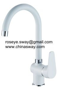 Kitchen Tap with Goose Neck, Movable Spout, White (SW-44000-Q1) pictures & photos
