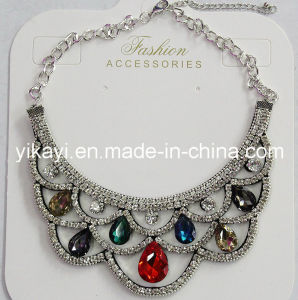 Lady Fashion Jewelry Colorful Waterdrop Glass Crystal Collar Necklace (JE0196-colorful) pictures & photos