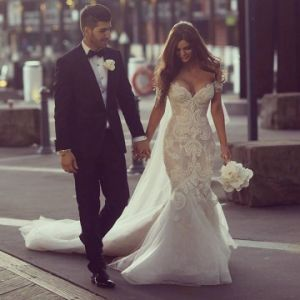 Mermaid Bridal Gown Beads Alencon Lace Tulle Wedding Dresses L66 pictures & photos
