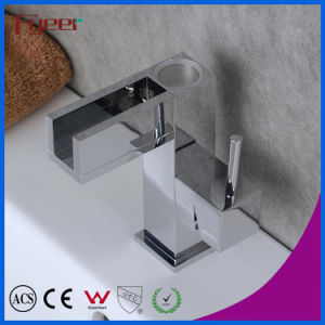 Self-Power 3 Color LED Waterfall Brass Basin Water Faucet (QH0615AF) pictures & photos