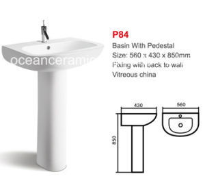 Ceramic Lavatory Basin for Hand Washing with Pedestal (No. P84) pictures & photos