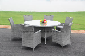 Outdoor Rattan Garden Wicker Big Round Dining Table and Chair