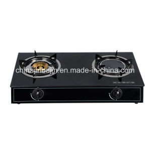 2 Burners Tempered Glass Top Brass & Infrared Gas Cooker/Gas Stove pictures & photos