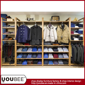 Wooden Wall Mounted Display Shelf for Men Clothing Store Interior Design pictures & photos
