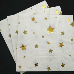 Gold Star Party Paper Napkins, Fold Paper Napkin pictures & photos