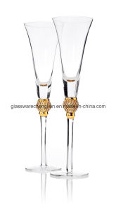Gold Diamond Champagne Toasting Flute Glasses (B-CP026) pictures & photos