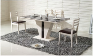 Black PU Covered Dining Room Tempered Glass Table (CT-147 CY-147) pictures & photos