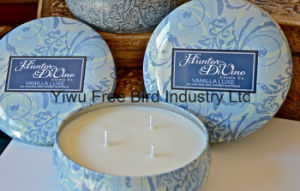 Round Tin Scented 340g Soy Candle with Three Wicks
