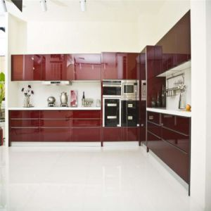 Modern Red Lacquer Finished Kitchen Cabinet Bulk Sale pictures & photos