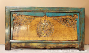 Vintage Hand Painted Chinoiserie Wood Old Furniture Cabinet