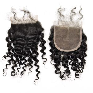 100% Virgin Hair Middle Part Kinky Curl Lace Closures pictures & photos