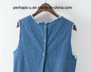 Summer Simple and Wild Ladies′ Denim T-Shirt pictures & photos