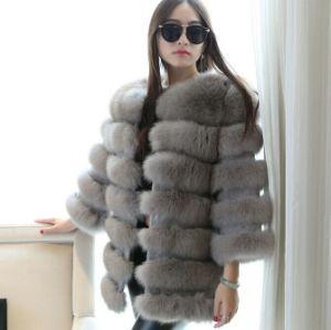 Fashion Large Popular Silver Fox Fur Coat