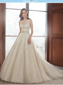Sheer Neck Bridal Wedding Gowns Beading Tulle Wedding Dress Ya1711 pictures & photos