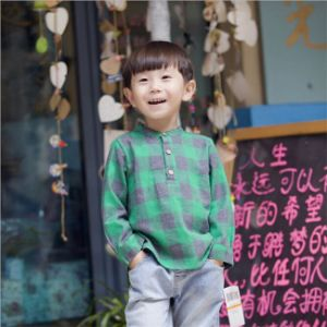 T1154 Hot Sale Chinese Brand High-Quality Fashion Boy Long Sleeve Pullover Shirt Cotton Plaid Shirt with Round Collar for Wholesale pictures & photos