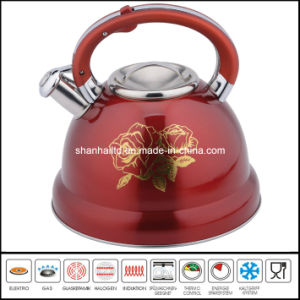 2.6L Flower Painted Stainless Steel Whistle Kettle Kitchenware pictures & photos