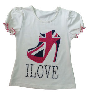 Good Quality Kids Children Custom Printed Shoe T-Shirt (SGT-026)