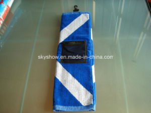 100% Cotton Jacquard Golf Towel with Pocket (SST1015) pictures & photos