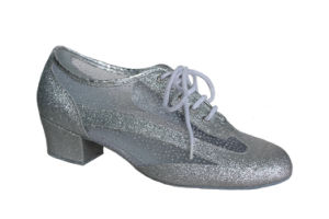 Silver Leather&Mesh Upper Tango/Latin Dance Practice Shoes pictures & photos