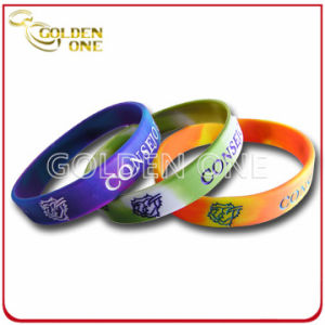 Fashion Custom Segmented Color Concave Logo Silicone Rubber Bracelet pictures & photos