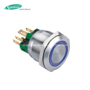 Diameter 22mm Stainless Steel Push Button with LED Ring Illuminated Push Button Switch pictures & photos