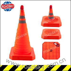 Reflective LED Fold Traffic Cones pictures & photos