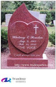 Design of Heart-Shaped Red Granite Gravestone