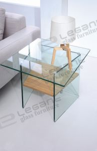 Modern Curved Glass Base TV Stand with Veneer Shelf pictures & photos