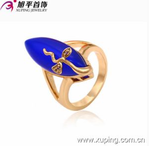 Fashionable Xuping Dark Blue Cobblestone 18k Gold Plated Ring pictures & photos